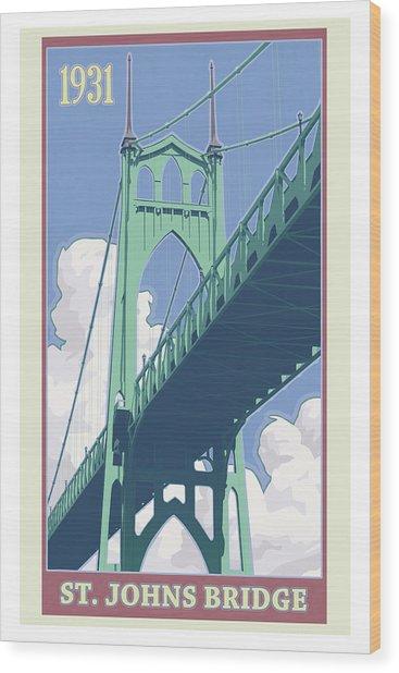 Vintage St. Johns Bridge Travel Poster Wood Print