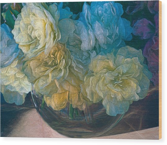 Vintage Still Life Bouquet Painting Wood Print