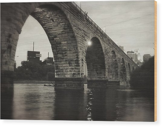 Vintage Stone Arch Bridge Wood Print