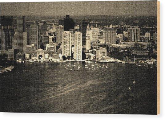 Vintage Style Boston Skyline Wood Print