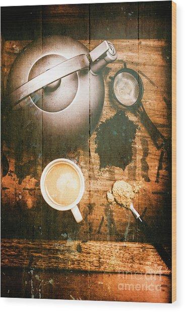 Vintage Tea Crate Cafe Art Wood Print