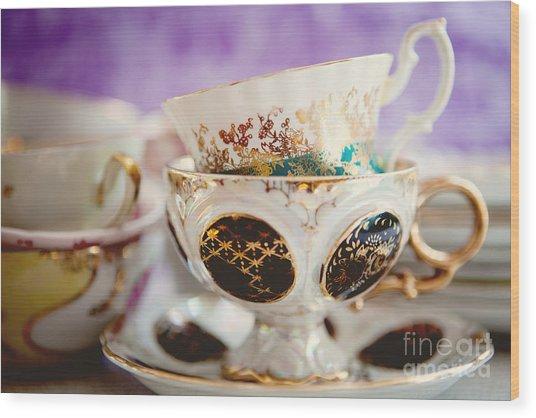 Vintage Teacups Wood Print