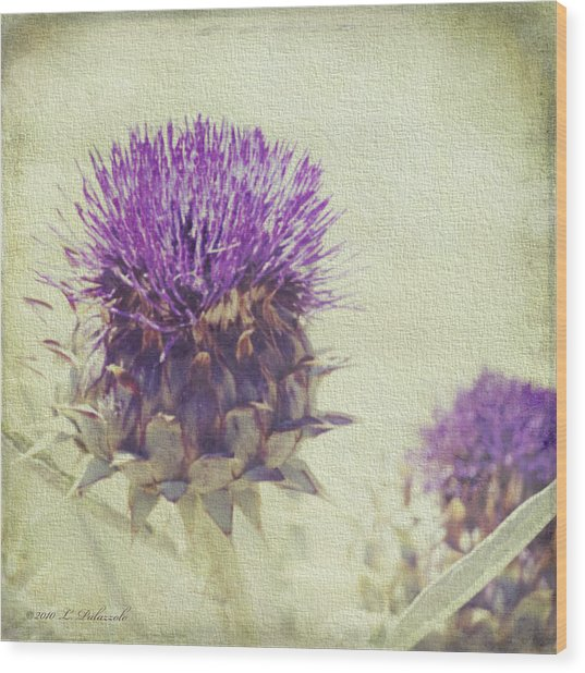 Vintage Thistle Wood Print by Laura Palazzolo