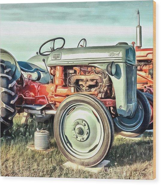 Vintage Tractors Pei Square Wood Print