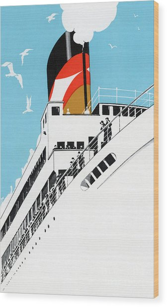 Vintage Travel Poster A Cruise Ship With Passengers, 1928 Wood Print