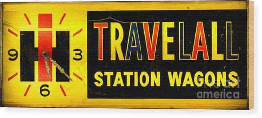Vintage Travelall Station Wagons Sign Wood Print