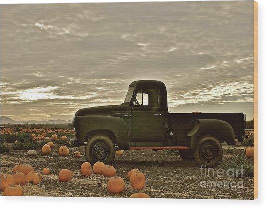 Vintage Truck Two In Pumpkin Graveyard Wood Print