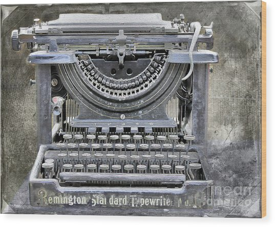 Vintage Typewriter Photo Paint Wood Print