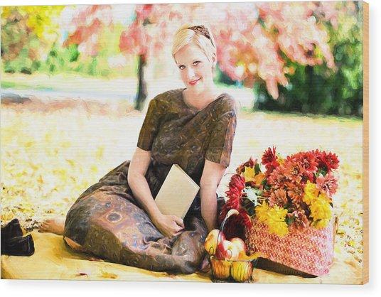 Wood Print featuring the digital art Vintage Val Autumn Picnic by Jill Wellington