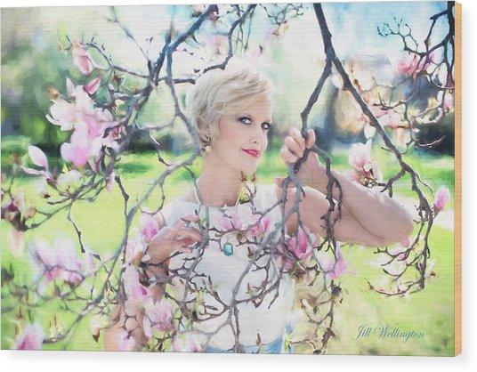 Vintage Val Magnolias Wood Print