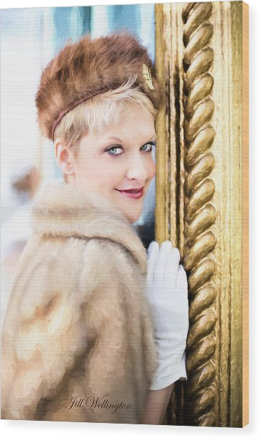 Wood Print featuring the digital art Vintage Val Winter Glam by Jill Wellington