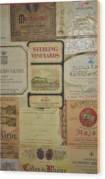 Vintage Wine Labels 10 Wood Print
