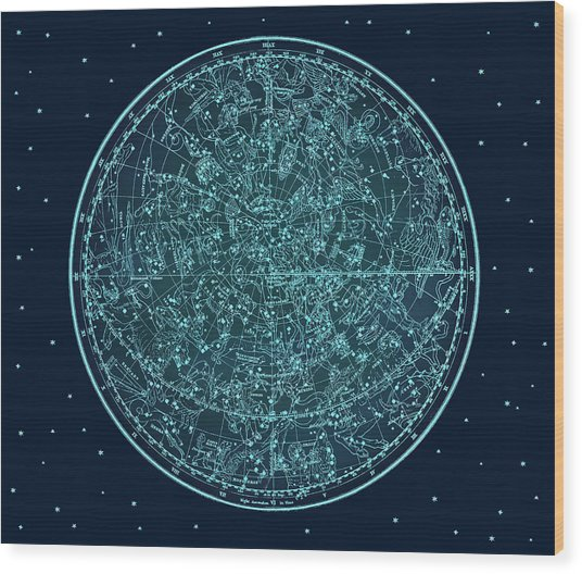 Vintage Zodiac Map - Teal Blue Wood Print