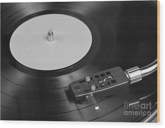 Vinyl Record Playing On A Turntable Overview Wood Print