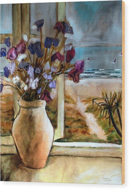 Violet Beach Flowers Wood Print