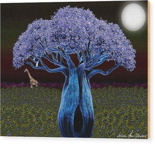 Violet Blue Baobab Wood Print