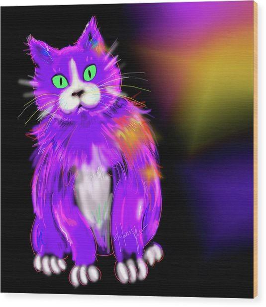 Violet Dizzycat Wood Print