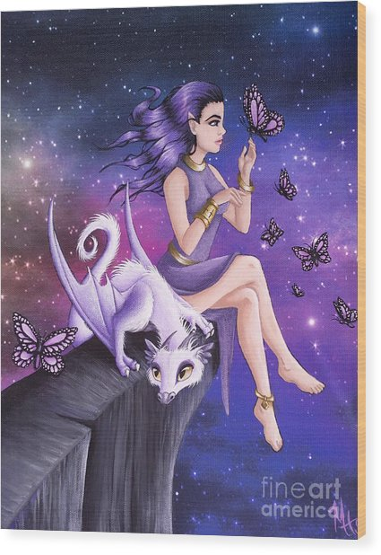 Violet Night Fantasy Wood Print