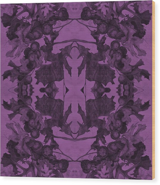 Violet Oak Tree Pattern Wood Print