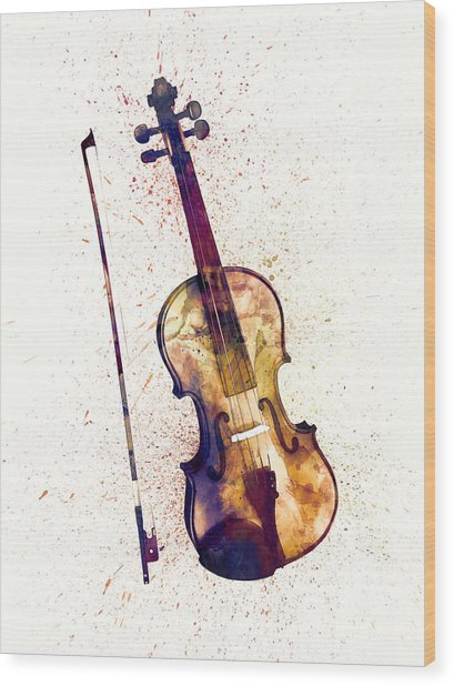 Violin Abstract Watercolor Wood Print