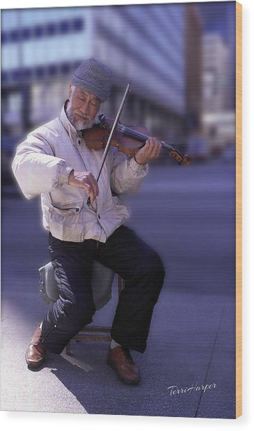 Violin Guy Wood Print