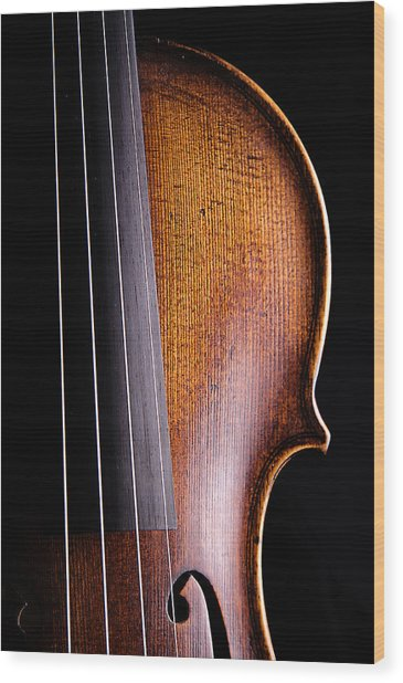 Violin Isolated On Black Wood Print