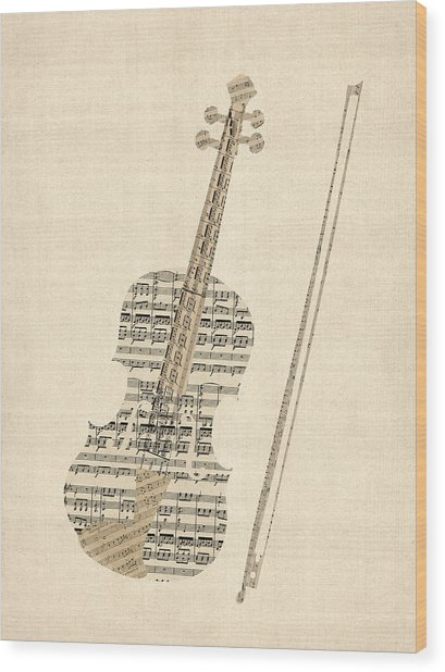 Violin Old Sheet Music Wood Print