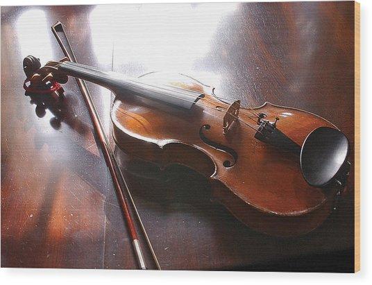 Violin On Table Wood Print