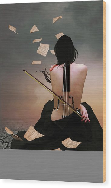 Violin Woman Wood Print