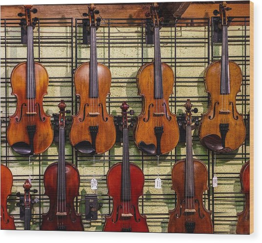 Violins In A Shop Wood Print