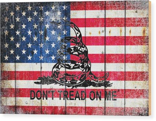 Viper On American Flag On Old Wood Planks Wood Print