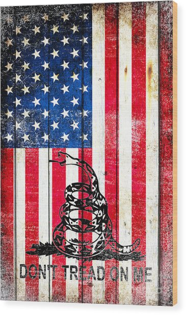 Viper On American Flag On Old Wood Planks Vertical Wood Print