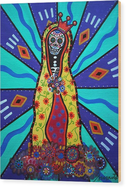 Virgin Guadalupe Day Of The Dead Wood Print