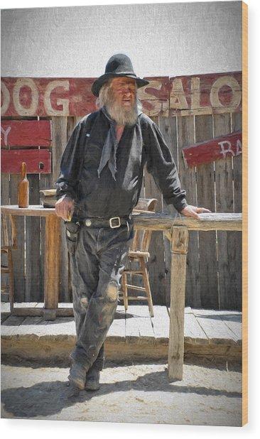Virginia City Cowboy Wood Print