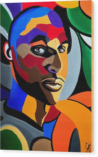 Visionaire, Abstract Male Face Portrait Painting - Illusion Abstract Artwork - Chromatic Wood Print