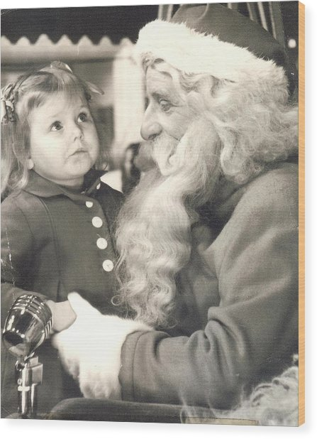Visiting Santa For The First Time Wood Print