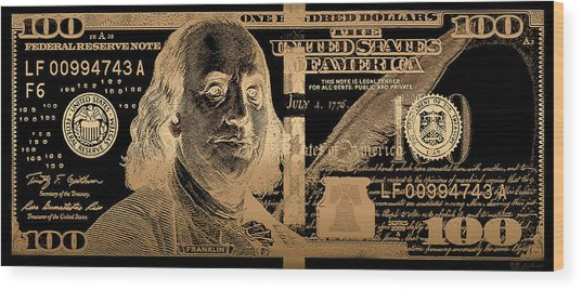 One Hundred Us Dollar Bill - $100 Usd In Gold On Black Wood Print