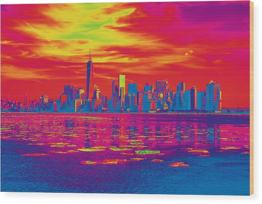 Vivid Skyline Of New York City, United States Wood Print
