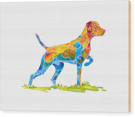 Vizsla On Point Wood Print