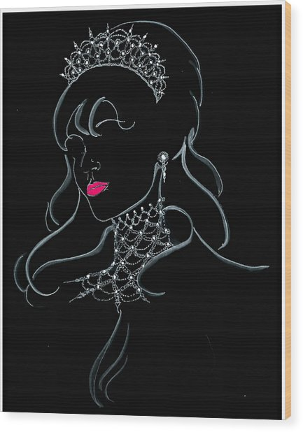 Vodka Princess Wood Print by Yvonne Ayoub