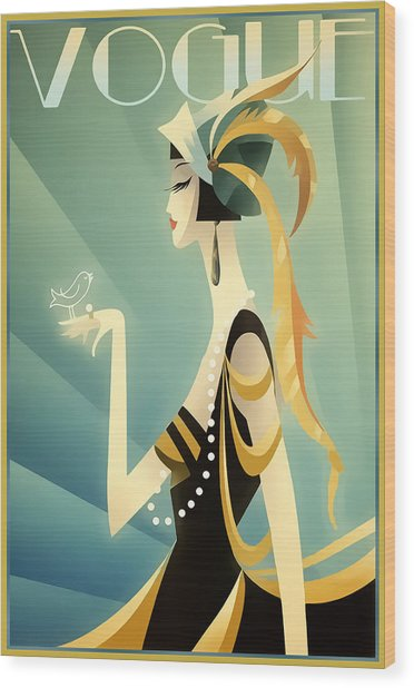 Vogue - Bird On Hand Wood Print