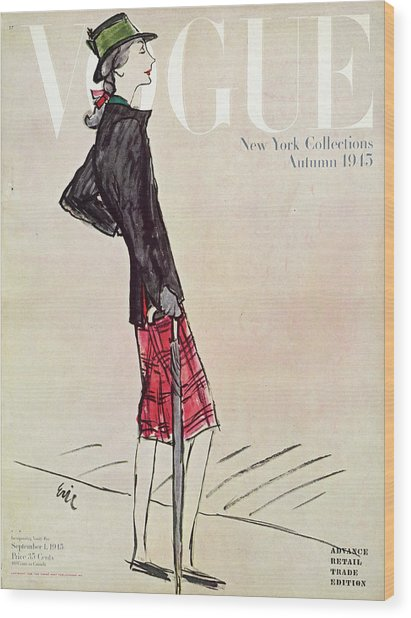 Vogue Cover Featuring A Woman In A Plaid Skirt Wood Print