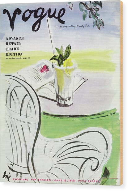 Vogue Cover Illustration Of A Beverage And Book Wood Print