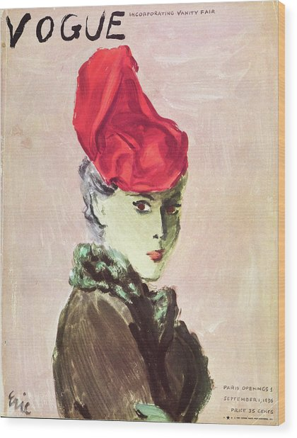Vogue Cover Illustration Of A Woman Wearing A Red Wood Print by Carl Oscar August Erickson