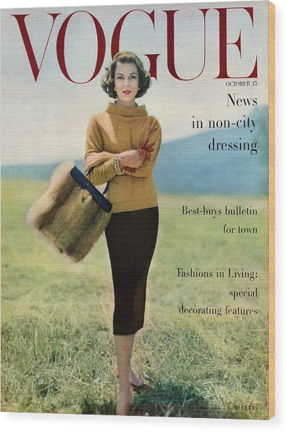 Vogue Magazine Cover Featuring Model Va Taylor Wood Print by Karen Radkai