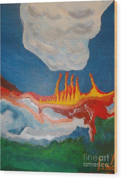 Volcanic Action Wood Print