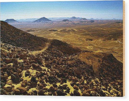 Volcanic Black Desert Wood Print by Vera Golovina
