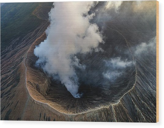 Volcanic Crater From Above Wood Print