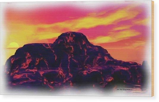 Volcanic Lava Island Wood Print
