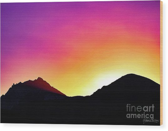 Volcanic Sunrise Wood Print